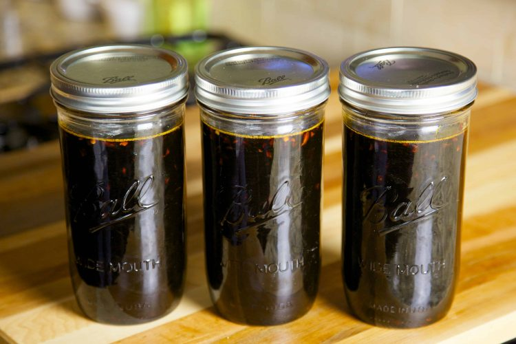 3 jars of teriyaki sauce.