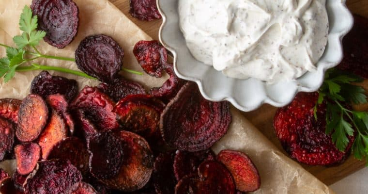Oven Roasted Beet Chips with Sumac Sour Cream