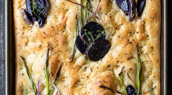 Easy Focaccia with Potato, Onions, and Balsamic Glaze
