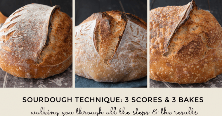 Technique: Learn To Score and Bake Sourdough. Demonstrating Three Loaves.