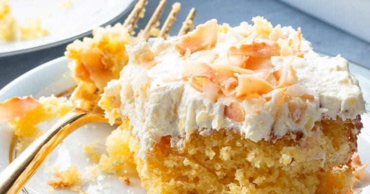 Pineapple Sunshine Cake with Toasted Coconut