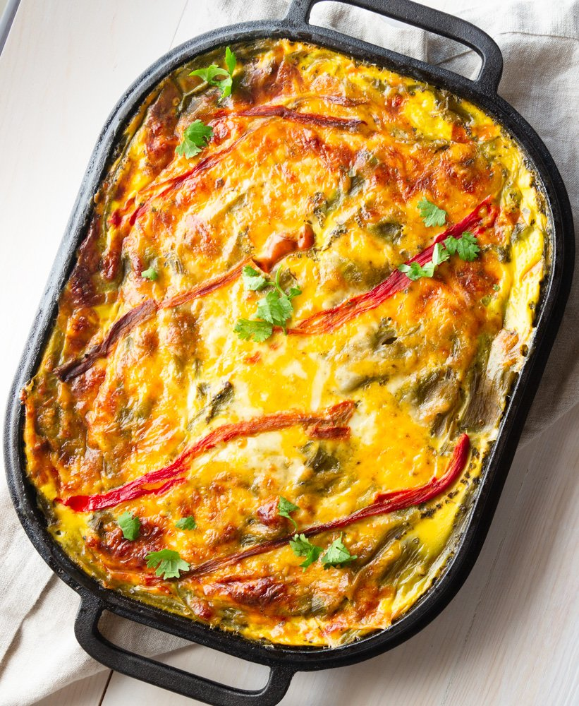 Hatch Green Chile Casserole in a cast iron pan
