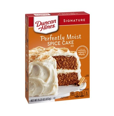 A box of Duncan Hines perfectly moist spice cake mix linking to their website