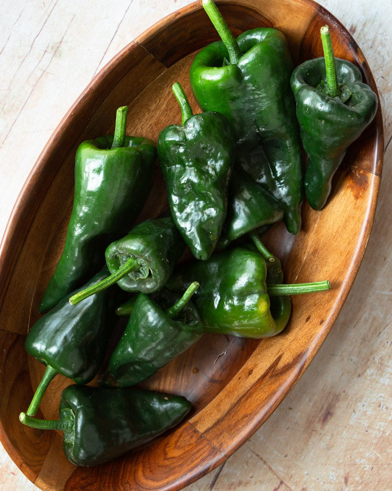 a bowl of poblano peppers