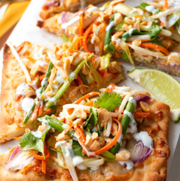 Thai Flatbread Chicken Pizza with Crunchy Thai Slaw